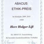 ABACUS-Urkunde: Ethik-Preis 2009/2010 - für ABACUS Nachhilfe in Hamburg und Kreis Stormarn