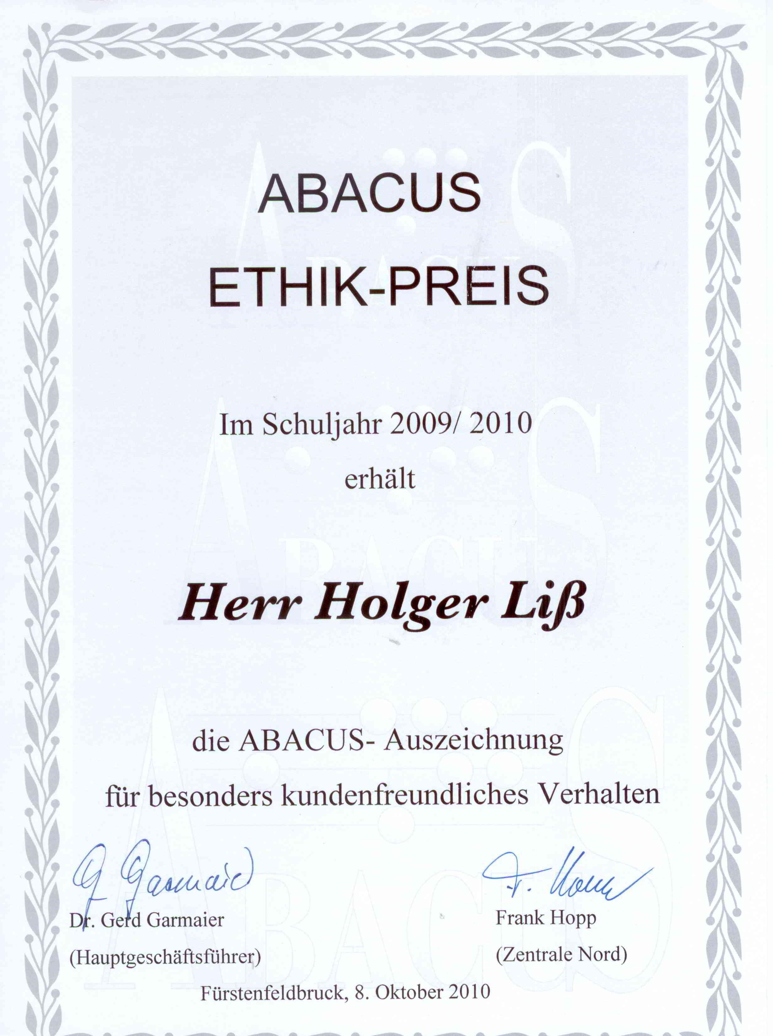 ABACUS-Urkunde: Ethik-Preis 2009/2010