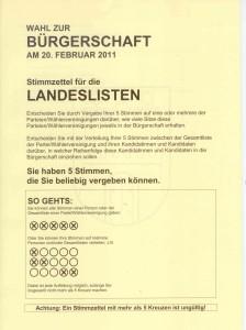 Landeslisten zur Wahl in Hamburg