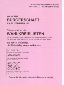 Wahlkreislisten Hamburg auf Landesebene