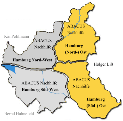 ABACUS Nachhilfeinstitute in Hamburg: Visualisierung der Zuständigkeiten der 3 ABACUS Nachhilfeinstitute für Nachhilfe in Hamburg