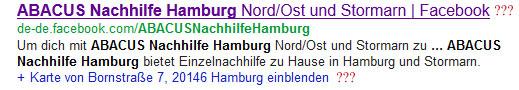 Google-Fehler: Facebook (ABACUS Hamburg)